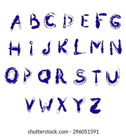 Digital ink blue alphabet