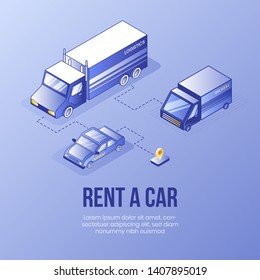 Digital isometric design concept scene of rent car online service app 3d icons.Isometric Business finance symbols-different cars, truck,geo tag on landing page banner web online concept