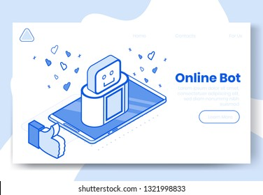 Digital isometric design concept set of internet bot app 3d icons.Isometric social marketing symbols,internet robot,thumb up,heart icon on landing page banner web online concept,ready to use design