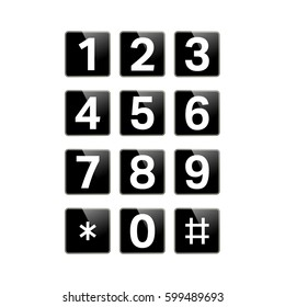 Digital keypad isolated on white background. Button with numbers 1, 2, 3, 4, 5, 6, 7, 8, 9, 0 for phone, user interface, security lock control panel. Telephone button. Vector illustration.