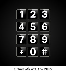 Digital keypad with numbers for phone, user interface, security lock control panel. Telephone button. Vector illustration