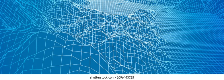 Digital landscape with mountains or hills made of line grid in futuristic technology or science style