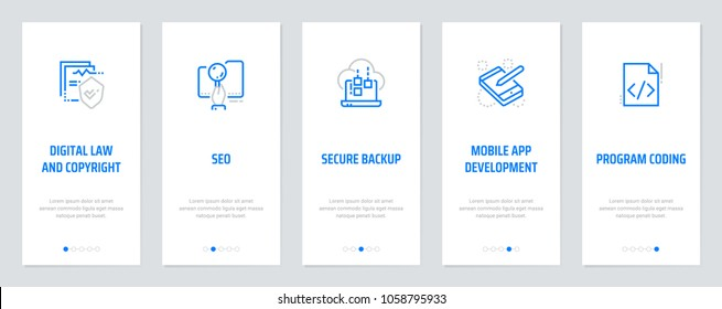 Digital law and copyright, Seo, Secure backup, Mobile app development, Program coding Vertical Cards with strong metaphors. Template for website design.
