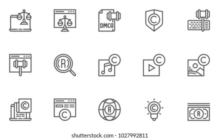 Digital Law, Copyright Vector Flat Line Icons Set. Patent, DMCA Protection and Online Privacy. Editable Stroke. 48x48 Pixel Perfect.