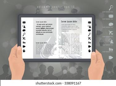 Digital layout e-magazine, vector