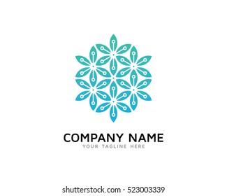 Digital Leaf Logo Design Template