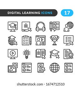 Digital learning line icons. Outline symbols collection. Premium quality. Vector thin line icons set