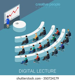 Digital lecture web conference flat 3d isometric education knowledge concept web vector illustration. Class auditory wi-fi sign shaped table style interior. Creative people collection.