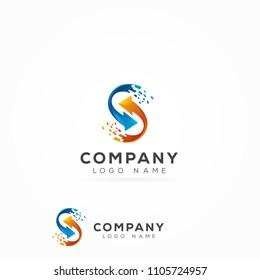 Digital Letter S Logo