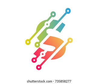 Digital Letter S Technology Icon Logo Design Element