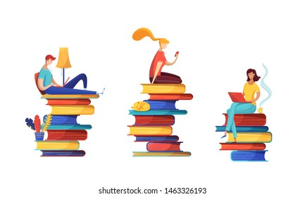Digital library readers flat vector illustrations set. Girl reading ebook, teacher preparing for lesson, pupil studying online cartoon characters pack. People sitting on book piles isolated cliparts