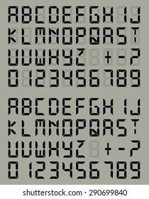 Digital Liquid Crystal Display Font Gray Background. Vector set