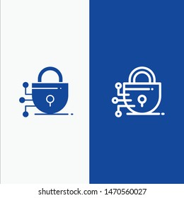 Digital, Lock, Technology Line and Glyph Solid icon Blue banner Line and Glyph Solid icon Blue banner. Vector Icon Template background