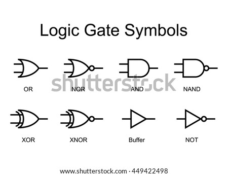 Digital Logic Gate Symbols Black Isolated Stock Vector Royalty Free