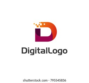 Digital logo icon. Letter D vector element