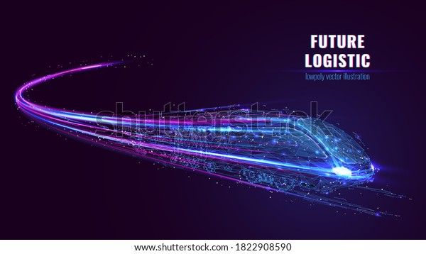 Digital low poly wireframe of futuristic high-speed train. Future logistics, modern technology, transport concept. Abstract 3d blue and purple illustration with connected dots. Vector color mesh