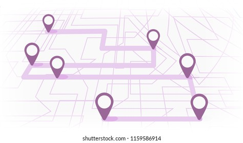 Digital map with colorfull seven points. The way of city navigation with the beginning and the end. Vector banner infographic