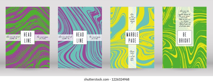 Digital Marble Cover Design for your Business with Abstract Lines. Futuristic Poster, Flyer, Layout with Liquid Pattern for Branding, Identity, Annual Report. Vector minimalistic brochure. Luxury. - Shutterstock ID 1226324968