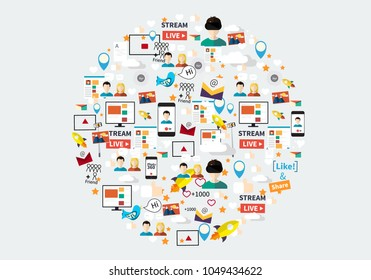 Digital marketing abstract pattern. Social media icons, rocket ship, bird, mail, smart phone. Vector illustration