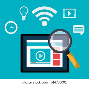 Digital marketing and advertising icons graphic design, vector illustration