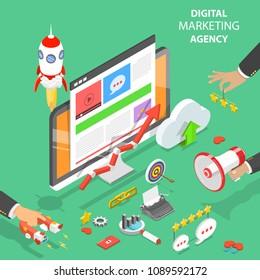 Digital marketing agency. Flat isometric vector concept of social network, SEM, media communication, SEO.