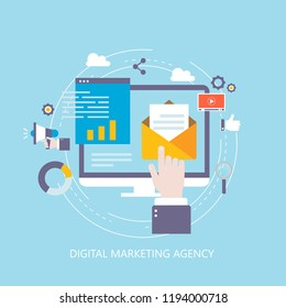 Digital marketing agency, online promotion, social media campaign, internet advertising flat vector illustration design. Viral marketing, online ads, digital video content for web banners and apps