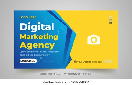 Digital marketing agency video thumbnail and web banner design. Video cover photo fully editable for social media. Customizable web banner template and thumbnail