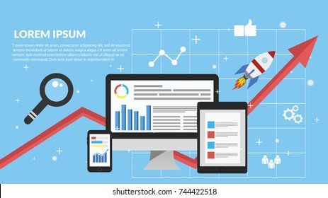 Digital marketing, analysis, flat banner concept eps 10 vector