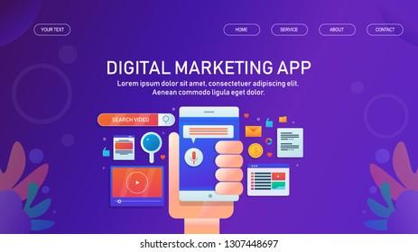 Digital marketing app, Mobile app, Marketing technology, flat design vector for website and blog