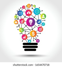 digital marketing applications light bulb. modern creative thinking. business and finance concept. vector illustation design template. isolated on white background. Connection technology idea icon.