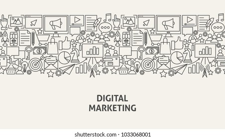 Digital Marketing Banner Concept. Vector Illustration of Line Web Design.