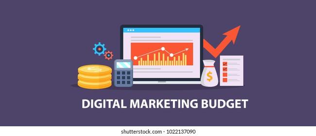 Digital marketing budget, Advertisement analytics, Calculation, Return on investment vector illustration