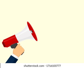 Digital marketing business man holding megaphone for website and promotion banners