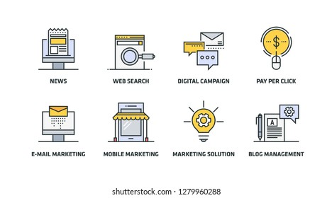 DIGITAL MARKETING COLORED LINE ICONS