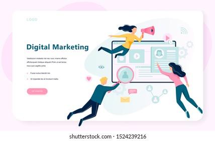 Bannière de concept marketing numérique. Les réseaux sociaux et la communication médiatique. SEO, SEM et promotion en ligne. Illustration vectorielle à plat