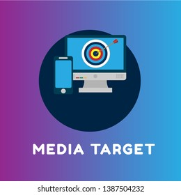 digital marketing concept. banner with target and pc. Online media audience.