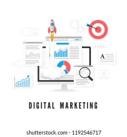 Digital marketing concept. Data analysis. SEO promotion. Vector illustration