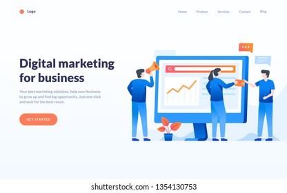 Digital marketing concept, group of people work together, business strategy illustration, banner, tempalte, web ui