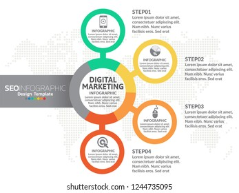 Digital Marketing concept. Infographic chart with icons, can be used for workflow layout, diagram, report, web design.