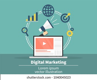 Digital marketing concept. Social network and media communication. SEO, SEM and promotion and business strategy