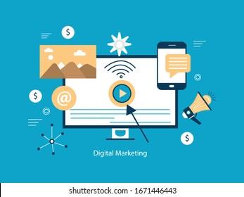 Digital marketing concept. Social network and media communication