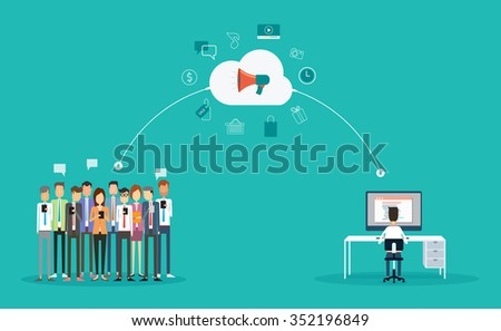 digital  marketing connection on-line concept.marketing on cloud .Announce on-line.group people business