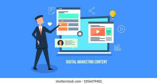 Digital marketing content - Man promoting digital content - Business advertising online flat vector banner on blue background