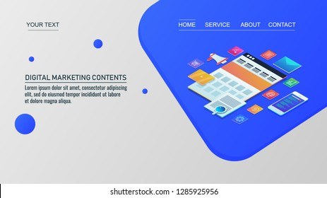 Digital marketing contents - Digital content - Marketing technology - Business strategy - 3D isometric banner