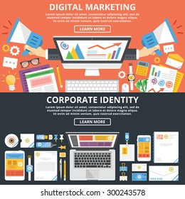 Digital marketing, corporate identity flat illustration concepts set. Top view. Modern flat design concepts for web banners, web sites, printed materials, infographics. Creative vector illustration