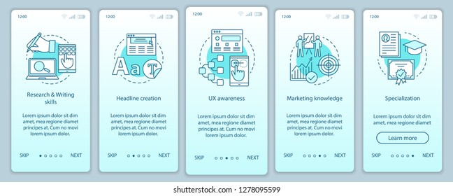 Digital marketing courses onboarding mobile app page screen vector template. Copywriting walkthrough website. Content creation. Promotion, advertising texts writing. UX, UI, GUI smartphone interface