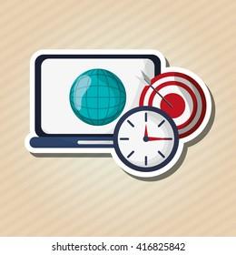 Digital marketing design. laptop icon. multimedia concept
