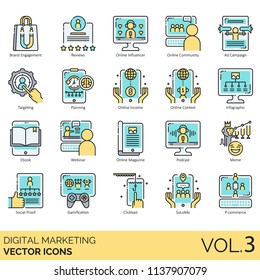Digital marketing flat icon set. Brand engagement, reviews, influencer, community, ad campaign, targeting, planning, income, contest, infographic, ebook, webinar, magazine, podcast, meme, clickbait.