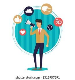 Digital marketing flat illustration. Man holding megaphone