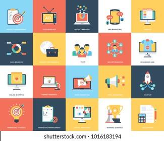 Digital Marketing Flat Vector Illustration Collection